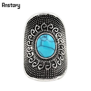 Flower Oval Blue Stone Rings For Women Vintage Antique Silver Plated Fashion Jewelry TR472