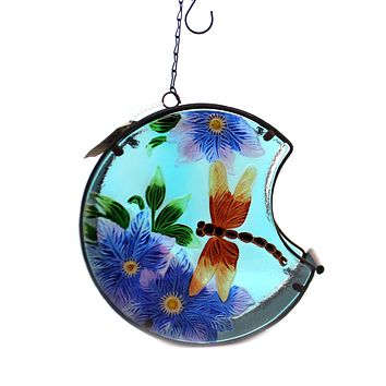 Home & Garden DRAGONFLY PAINTER BIRD FEEDER Glass Outdoor Decor Nature 11687