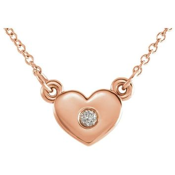 "14k Gold .03 CTW Diamond Heart 16"" Necklace"