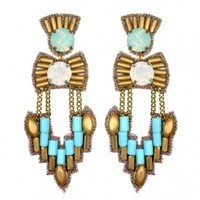 Ankara Chandelier Earrings, Turquoise/Gold by Suzanna Dai   Charm & Chain