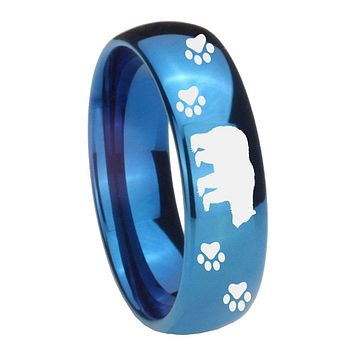 8MM Glossy Blue Dome Bear and Paw Tungsten Carbide Laser Engraved Ring