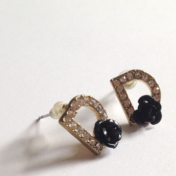 Anthropologie Mini Crystal Gemstone Black Rose Gold Plated Stud D Earrings
