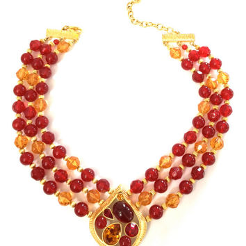Givenchy Beaded Pendant Necklace, Cranberry & Apricot Glass and Resin Beads, Gold Tone, Couture Statement Necklace, Signed, Gift for Her