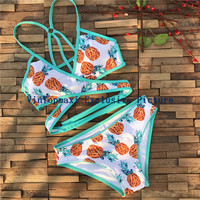 2017 Sexy Cross Wrap Swimsuit Tanks Top Biquini Thong Swim Bathing Suit Pineapple Print Swimwear Women Brazilian Push Up Bikini