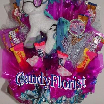 My Little Pony Candy Bouquet Centerpiece! Fruit Snacks & LolliPops! Edible Party Favors w/ MLP Plush! Great for a Gift or Party!