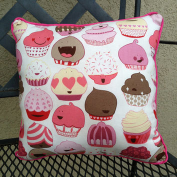"Cupcake Pillow in Pinks, Reds and Browns on White Cotton - ""Dreaming of Cupcakes"""