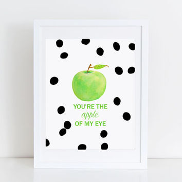 Black and White Print Polka Dot Green Apple Artwork Cute Quote You're the Apple of my Eye Kitchen Wall Art Typography Print Black and Lime