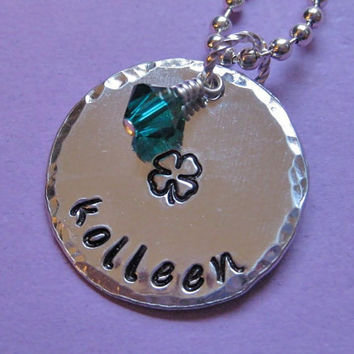 """Handstamped 4-Leaf Clover with Emerald Swarovski Crystal & Name """" (Large) - Custom necklace personalized for you St. Patrick's Day"""