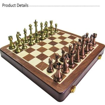 Classic Zinc Alloy Chess Pieces Wooden Chessboard Set
