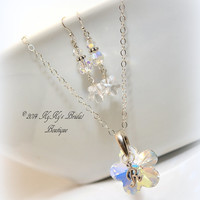 Personalized Flower Girl Necklace and Earring Set, Sterling Silver Flower Girl Gift Set, Gifts For Flower Girls, Crystal Flower Necklace