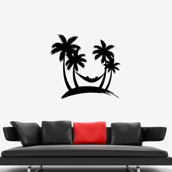 Wall Decal Palm Beach Hammock Summer Vacation Vinyl Sticker (ed1007)