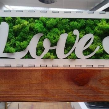 Love Letters, Canvas, Hanging art, moss decoration, wood, laser cut, white, office deco, perfect gift idea, interior design,Christmas gift
