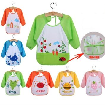 Baby Aprons Waterproof with Long Sleeve Baby Feeding Smock Bibs Baby Apron for Kids Eat Breastplate Children 1-3 Years