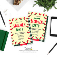 Summer Party Invitation Printable, Printable Summer Party Invitation, Red Watermelon Summer Party, Summer Invitation, Fruity Summer Invite,