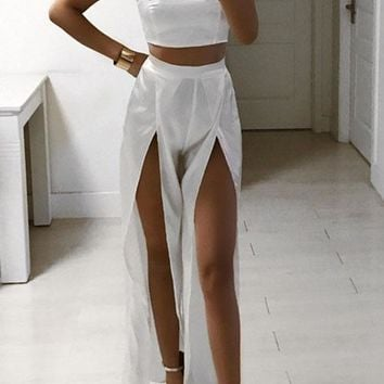 Strapless Crop Top with Split Pants Two Pieces Set