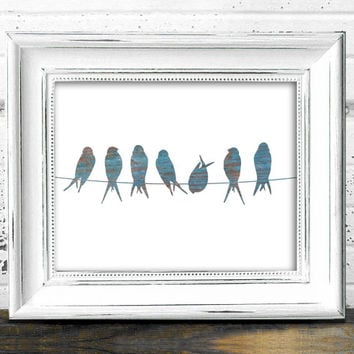 Bird Wall Art // Instant Download Printable 8x10 Rustic Old Wood Birds On A Wire Silhouette Digital Print // Rustic Art