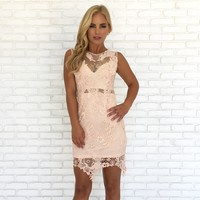 Catch My Blush Crochet Dress in Pale Pink