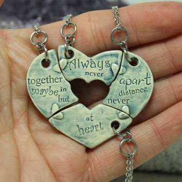 Friendship Heart pendants set of 4 pottery pieces light blue  Always together quote