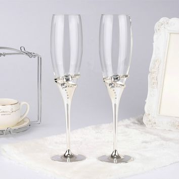 1 pair silver color wedding glass flute