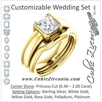 CZ Wedding Set, featuring The Charlotte engagement ring (Customizable Bezel-set Princess Cut Solitaire with Thick Band)