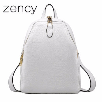Genuine Leather Summer Women Backpack Fashion Luxury Brand Real Cow Leather Backpacks Young Girl School Bags