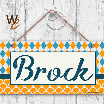 """Nursery Sign, Fun Patterns and Designs, Room Sign, Personalized Sign, Kid's Name, Door Sign, Nursery Art, 5"""" x 10"""" Sign, Made To Order, ST02"""
