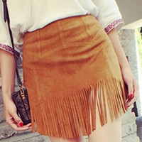Brown Suede Tassel Mini Skirt