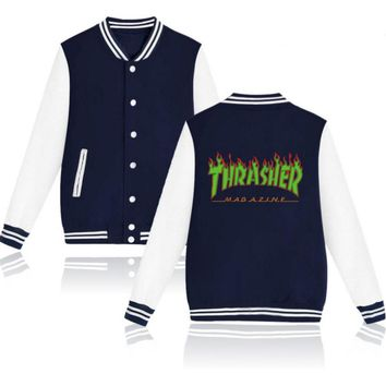 Thrasher flame special large size tide coat plus cashmere couple baseball clothing Green letters-1