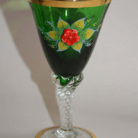 Vintage Lot Of 4 Stemmed Wine Cordial Sherry Goblets Crystal Stems And Green Top With Applied Flowers And Enameled Leaves Gold Trim 1950s