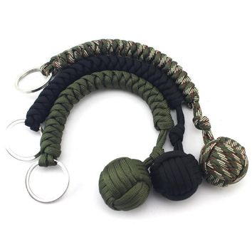 Parachute Rope Bracelet Seven Shares Cord Stainless Steel Ball Climbing Rope Survival Tools Key Chain Camping