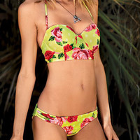 Rose Printed Halter Cupped Bikini