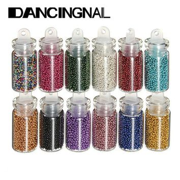 DCK9M2 12pcs Colors Caviar Nails Art Bottle Set Manicures Tiny Circle Beads 3D Decoration Tools Free Shipping
