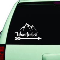 Wanderlust Car Decal Adventure Awaits Quote Design Sticker Wall Vinyl Art Words Decor JDM Travel Mountains