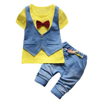 2017 New toddler baby boys summer gentleman clothing sets bow 2pcs child clothes kids sport suit tracksuit short sleeve uniform
