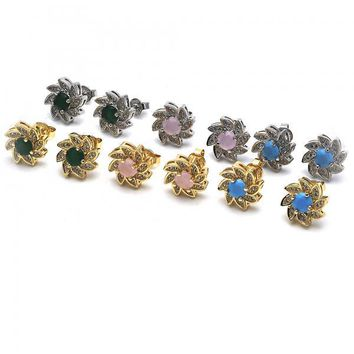 Gold Layered Stud Earring, Flower Design, with Opal and Micro Pave, Golden Tone