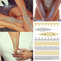 Waterproof Temporary tattoo Sticker gold sliver metallic metalic henna tatto stickers flash tatoo fake tattoos for women 27