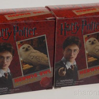 Set 2 Harry Potter Hedwig Owl Cage Kit Sticker Book 2010 Mega Mini Collectible
