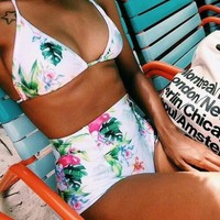 Fashion printing bikinis set sexy women high waist swimwear = 5617144513