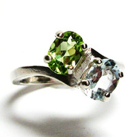 "Peridot ring, aquamarine, multi stone ring, birthstone ring, sweetheart ring, green blue ring, s 6 3/4   ""Side by Side"""