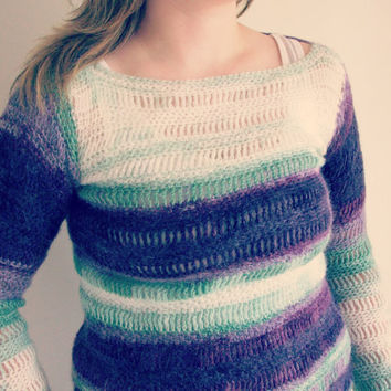 White green and plum hand crocheted super softy sweater
