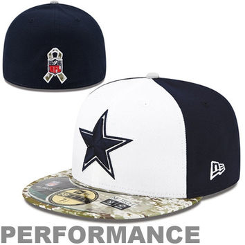 New Era Dallas Cowboys 59FIFTY Salute To The Service Sideline Performance Fitted Hat - Camo/Navy Blue/White