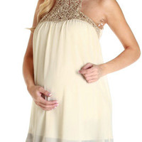 Cream-Gold-Crochet-Accent-Maternity-Tank-Top