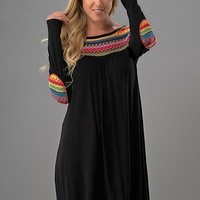 Embroidered Shift Long Sleeve Dress - Black