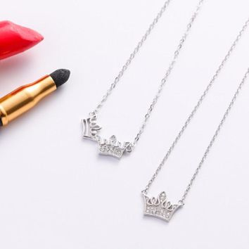Cool New 2018 Queen Princess Crown Necklace Silver plated Choker Pendant Shiny Rhinestone Zircon Women Jewelry Crystal Wedding GiftsAT_93_12