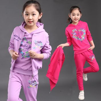 Girls New Active Three-Piece Clothing Children Sports Sets
