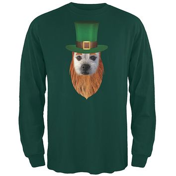 St. Patricks Day - Funny Leprechaun Dog Forest Green Adult Long Sleeve T-Shirt