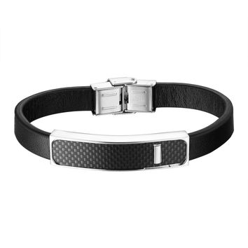 Carbon Fiber ID Design Bracelet Black Leather Wristband Stainless Steel Custom Style