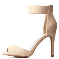 Nude Qupid Peep Toe Ankle Strap Heels by Qupid at Charlotte Russe