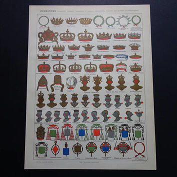 """CROWNS antique print 1902 original old heraldry pictures of royal crown knights helmet vintage illustration 23x31c 9x12"""" small poster"""