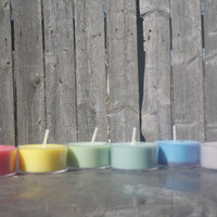 6 random colored and scented soy tea light candles
